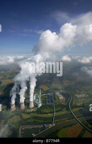 Aerial view, Gersteinwerk, RWE-Power coal-fueled power plant, inversion, Datteln-Hamm-Canal, Werne-Stockum, Ruhr Area, North Rh