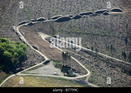 Aerial photo, erosion, consequences of hurricane Kyrill, wet-store for hurricane Kyrill wood, Meschede Bestwig, - Stock Photo