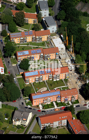 Aerial photo, solar roof, flat renovation to the north of the Opel factory 1, Langendreer, Bochum, Ruhr area, North - Stock Photo