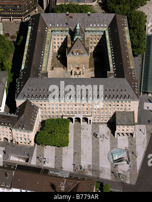 Aerial photo, townhall, city administration, inner courtyard, forecourt, freedom bell, Bochum, Ruhr area, North - Stock Photo