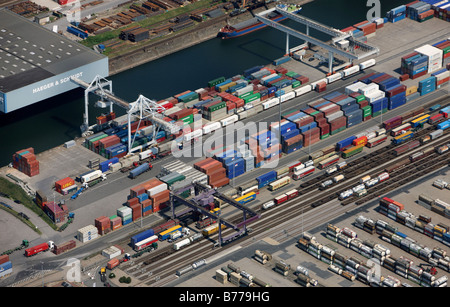 Aerial photo, containers, inland port, DuisPort, Ruhrort district, Duisburg, North Rhine-Westphalia, Germany, Europe - Stock Photo