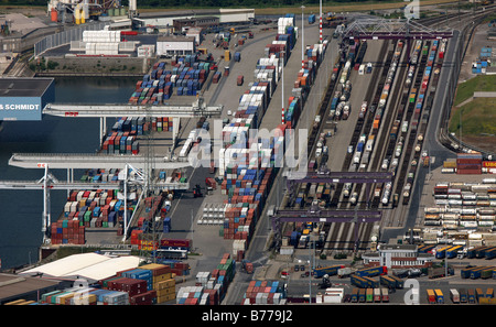 Aerial photo, containers, DuisPort, inland port, Ruhrort district, Duisburg, North Rhine-Westphalia, Germany, Europe - Stock Photo