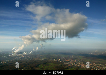 Aerial view, EON, Scholven Plant, cloud from the energy plant, Herten, Ruhr Area, North Rhine-Westphalia, Germany, - Stock Photo