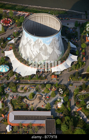 Aerial photograph, cooling tower, nuclear power station, fast breeder reactor, Nuclear Water Wonderland amusement - Stock Photo