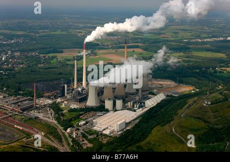 Aerial photograph, Kraftwerk Scholven, power plant with five cooling towers only, EON VEBA Kraftwerke Ruhr AG, air - Stock Photo