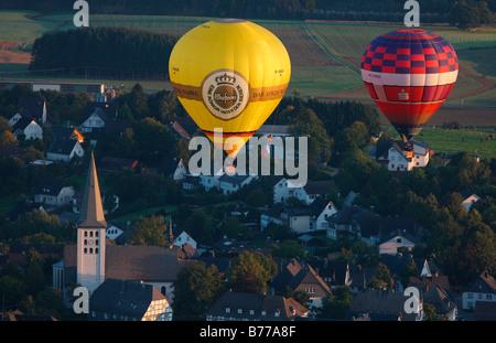 Aerial photograph, sunrise, hot-air balloon, Warsteiner hot-air balloon, international Mongolfiade, Warstein, Hirschberg, - Stock Photo