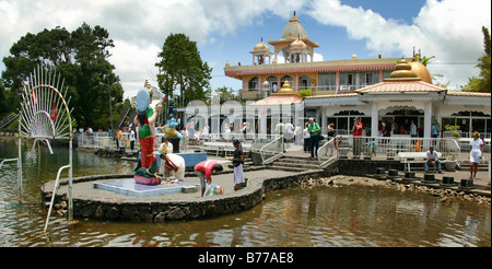 Grand Bassin, holy lake, sacred Hindu statue, Hindu sanctuary, Buddhist temple, Mauritius, Africa, Indian Ocean - Stock Photo