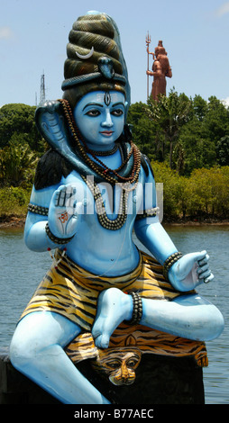 Sacred statue, Grand Bassin, Holy Lake, Hindu sanctuary, Mauritius, Africa, Indian Ocean - Stock Photo