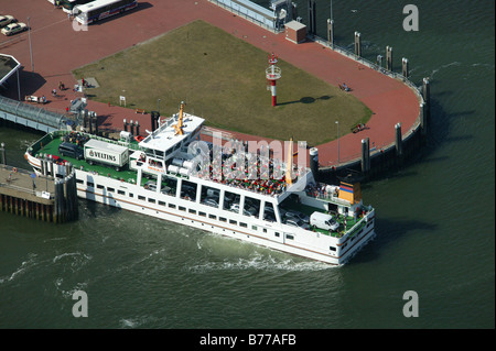 Aerial view, ferry, Norderney Island, North Sea, East Frisian Islands, Lower Saxony, North Germany, Europe - Stock Photo