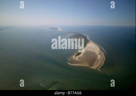 Aerial photograph of Wangerooge, East Frisian Islands, Lower Saxony, Germany, Europe - Stock Photo