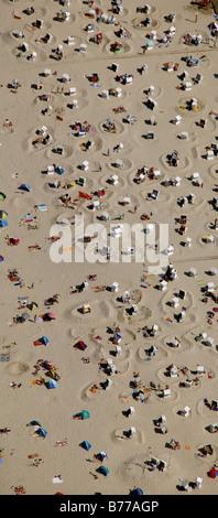 Aerial photograh of Wangerooge beach, holidaymakers, East Frisian Islands, Germany, Europe - Stock Photo