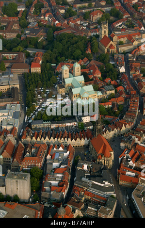 Aerial photograph, Muenster city centre with Prinzipalmarkt and Cathedral, Muenster, Muensterland, North Rhine-Westphalia, - Stock Photo