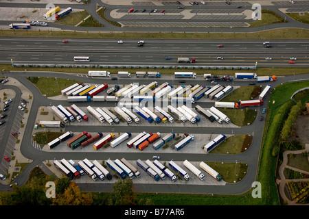 Aerial photograph, A2 Autobahn, Rhynern motorway service area, Hamm, Ruhr district, North Rhine-Westphalia, Germany, - Stock Photo