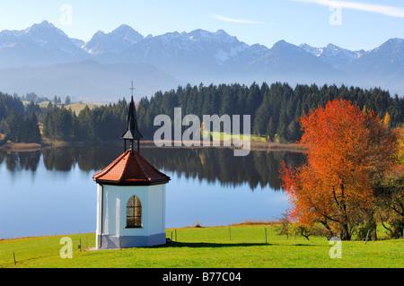 Chapel at Hegratsrieder See, lake, near Buching, Allgaeu, Bavaria, Germany, Europe - Stock Photo