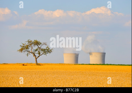 Grafenrheinfeld nuclear power station in summer, Lower Franconia, Bavaria, Germany, Europe - Stock Photo