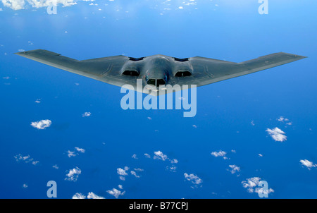 May 30, 2006 - A B-2 Spirit soars through the sky after a refueling mission over the Pacific Ocean. - Stock Photo