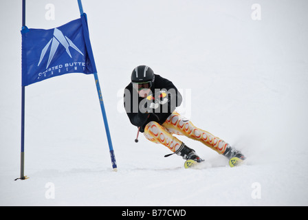 Ski Racer in Crested Butte - Stock Photo