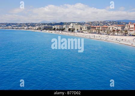 Beach, Nice, Alpes-Maritimes, Provence-Alpes-Cote d'Azur, Southern France, France, Europe - Stock Photo