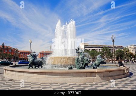 Fountain at Place Massena, Nice, Alpes-Maritimes, Provence-Alpes-Cote d'Azur, Southern France, France, Europe - Stock Photo