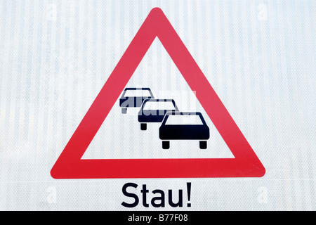 Traffic sign, risk of traffic jam - Stock Photo