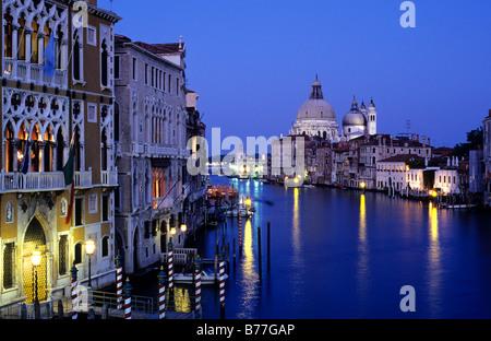 Canal Grande with Basilica di Santa Maria della Salute, Venice, Italy, Europe - Stock Photo