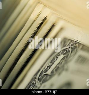 Close up of one dollar bills - Stock Photo