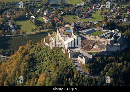Landskron Fortress near Villach, aerial photograph, Carinthia, Austria, Europe - Stock Photo