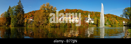 Autumn in Wolfratshausen on the Loisach River, Upper Bavaria, Germany, Europe - Stock Photo