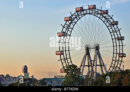Vienna giant wheel, Riesenrad, in Prater public park, Vienna, Austria, Europe - Stock Photo
