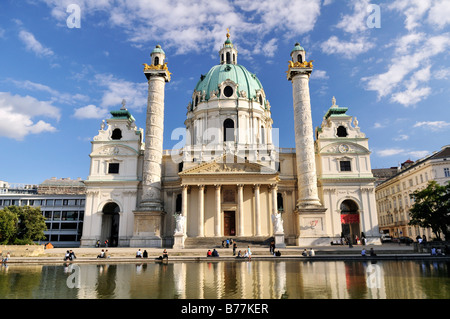 St. Charles's Church, Karlskirche, Vienna, Austria, Europe - Stock Photo