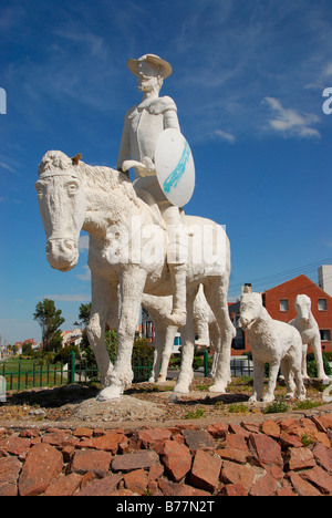 Monument for Don Quixote, Don Quijote de la Mancha and Sancho Panza, Puerto Madryn, Chubut Province, Patagonia, - Stock Photo