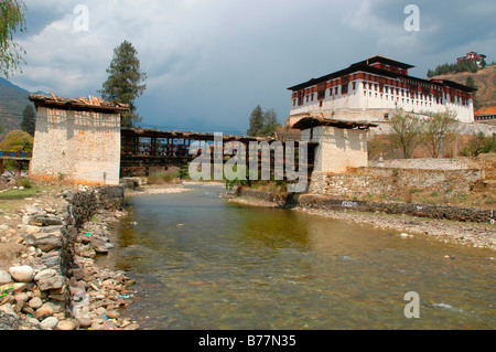 Dzong, Buddhist monastery and fortress, in Paro, Bhutan, Himalaya Mountains, Asia - Stock Photo