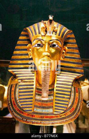 Gold death mask of Pharaoh Tutankhamun, Egypt, Africa - Stock Photo