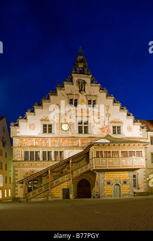 Old town hall at night in Lindau, Lake Constance, Bavaria, Germany - Stock Photo