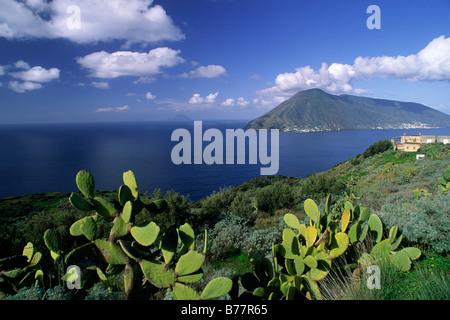 italy, sicily, aeolian islands, lipari island and salina in the background - Stock Photo