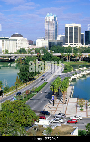 Elevated view Orange Avenue downtown near Lake Lucerne Orlando Florida - Stock Photo