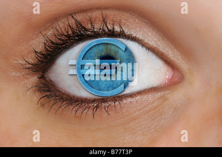 Eye with a euro symbol superimposed over a blue iris, detail, symbolic for avarice - Stock Photo