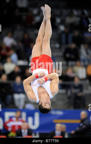 Nicolas Boeschenstein, Switzerland, performing on the floor, Gymnastics World Cup Stuttgart 2008, Baden-Wuerttemberg, - Stock Photo