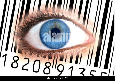 Close-up of an eye with the EAN barcode, European Article Number, on an iris, symbolic picture for transparent customer - Stock Photo