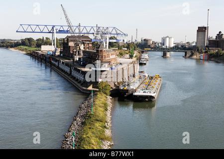 Krefeld-Uerdingen Rhine harbour, North Rhine-Westphalia, Germany, Europe - Stock Photo