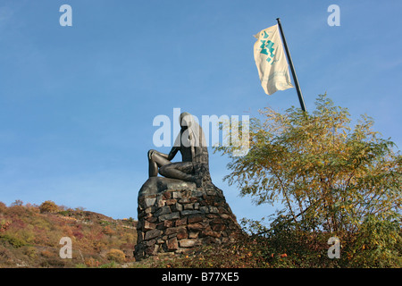 Loreley Memorial near Sankt Goar, UNESCO World Heritage Site Upper Middle Rhine Valley, Rhineland-Palatinate, Germany, - Stock Photo