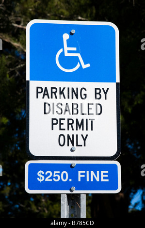 Parking by Disable Permit Only Sign, USA - Stock Photo