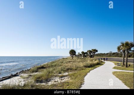 Main beach on the east coast, Jekyll Island, Georgia, USA - Stock Photo