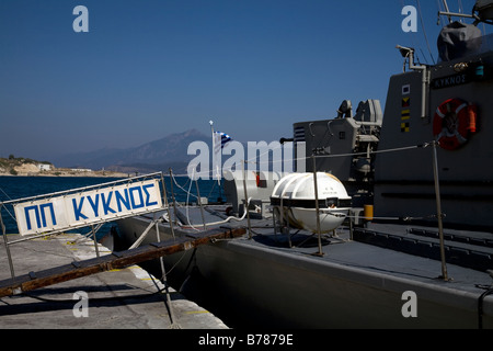 Hellenic Navy Tjeld class patrol boat Kyknos P 198 swan in harbour Pythagorion Samos Greece - Stock Photo