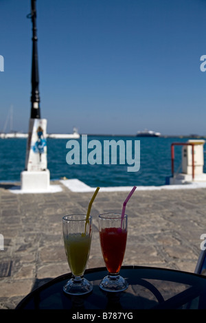 Drinks on Waterfront Pythagorion Samos Greece - Stock Photo