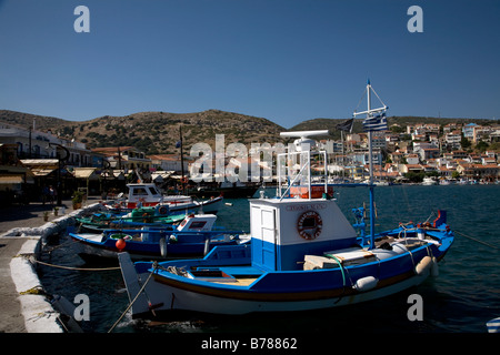 Boats in Harbour Pythagorion Samos Greece - Stock Photo