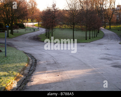 Frosty path in park - Stock Photo