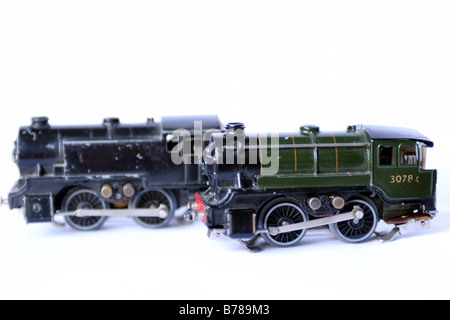 two ttr trix train railway model train locomotives made in the 1950's - Stock Photo