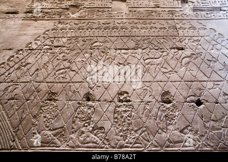 Detail of relief work showing captives, fish, fowl and animals in nets at Edfu Temple Egypt - Stock Photo