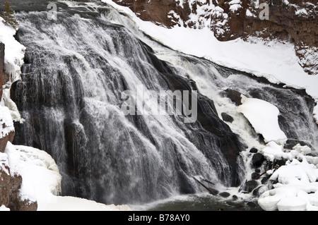 Gibbon Falls, Gibbon River, winter, Yellowstone National Park, Wyoming. - Stock Photo